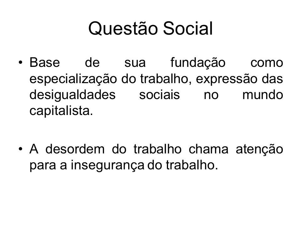 Questão Social Base de sua fundação como especialização do trabalho, expressão das desigualdades sociais no mundo capitalista.