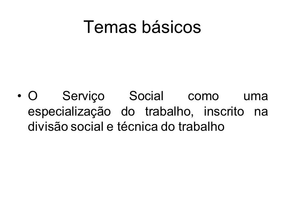 Temas básicos O Serviço Social como uma especialização do trabalho, inscrito na divisão social e técnica do trabalho.
