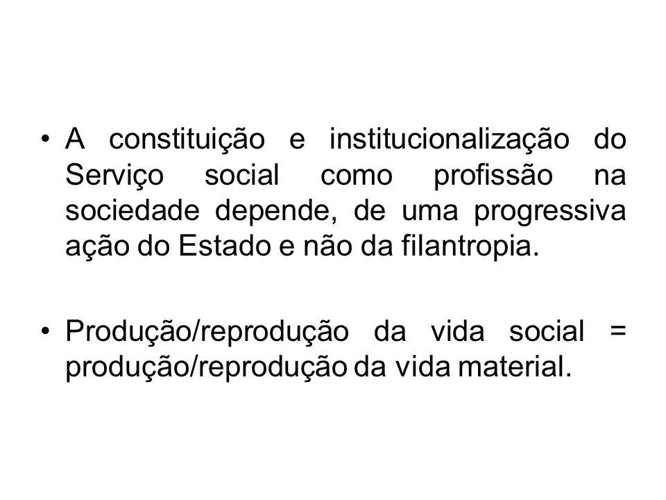 A constituição e institucionalização do Serviço social como profissão na sociedade depende, de uma progressiva ação do Estado e não da filantropia.