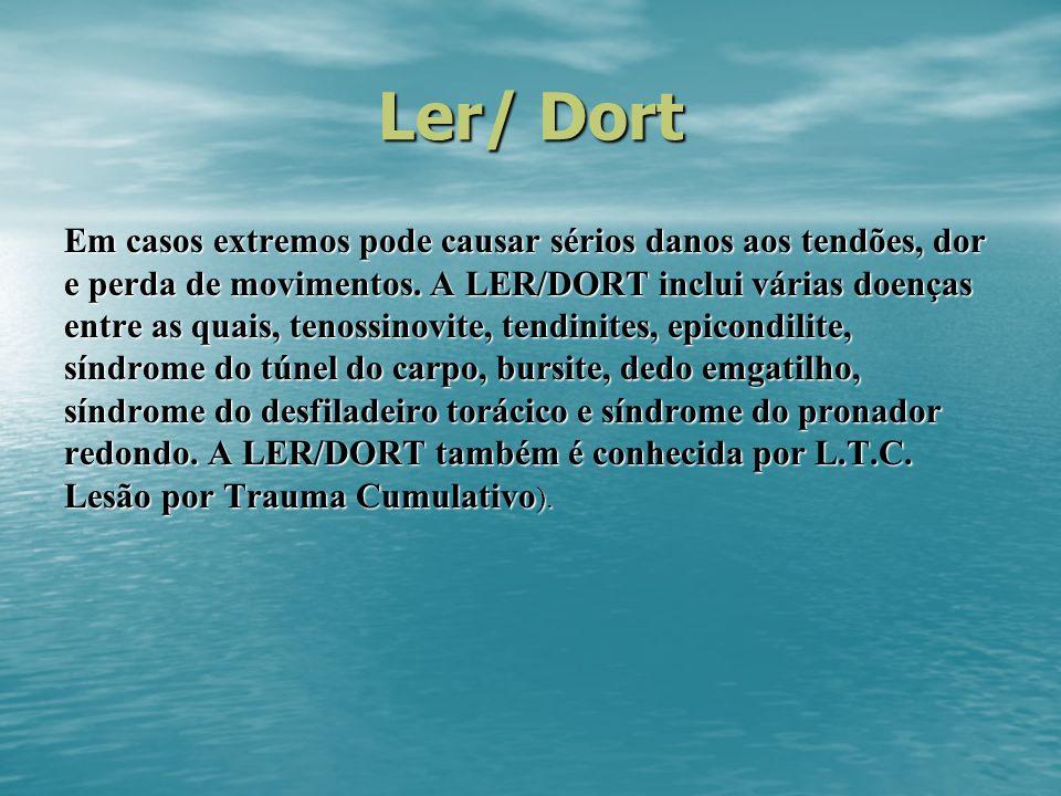Ler/ Dort Em casos extremos pode causar sérios danos aos tendões, dor