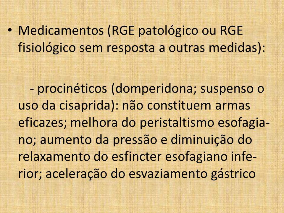 Medicamentos (RGE patológico ou RGE fisiológico sem resposta a outras medidas):