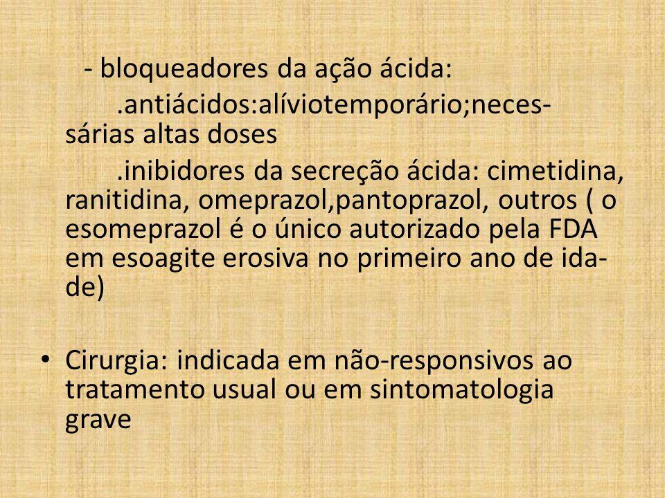 .antiácidos:alíviotemporário;neces- sárias altas doses