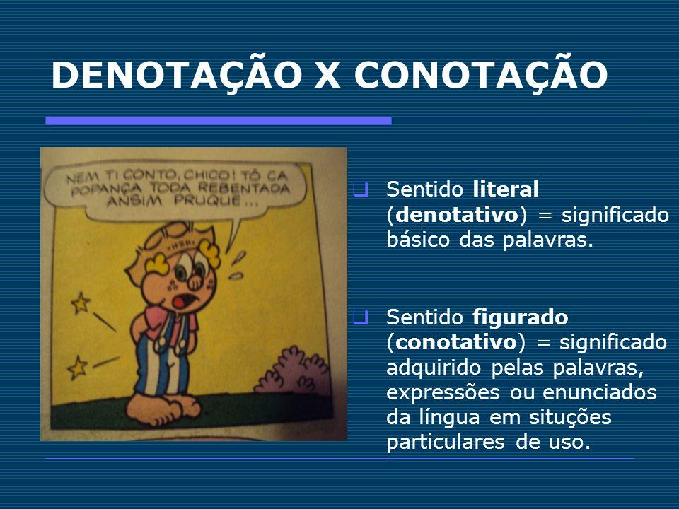 DENOTAÇÃO X CONOTAÇÃO Sentido literal (denotativo) = significado básico das palavras.