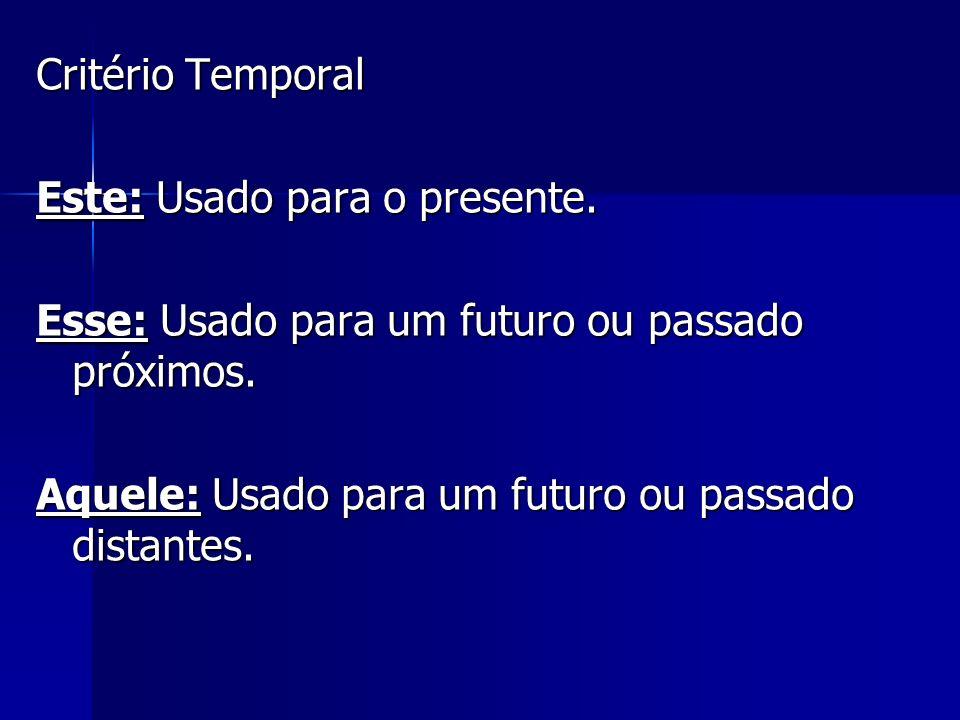Critério Temporal Este: Usado para o presente. Esse: Usado para um futuro ou passado próximos.