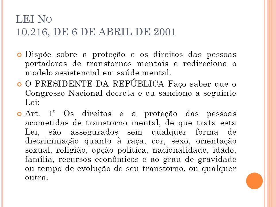 LEI No 10.216, DE 6 DE ABRIL DE 2001