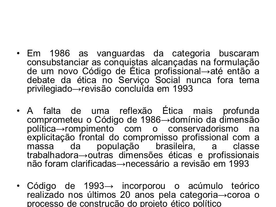 Em 1986 as vanguardas da categoria buscaram consubstanciar as conquistas alcançadas na formulação de um novo Código de Ética profissional→até então a debate da ética no Serviço Social nunca fora tema privilegiado→revisão concluída em 1993