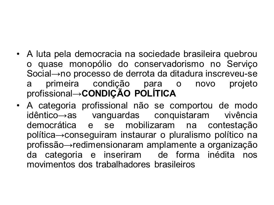 A luta pela democracia na sociedade brasileira quebrou o quase monopólio do conservadorismo no Serviço Social→no processo de derrota da ditadura inscreveu-se a primeira condição para o novo projeto profissional→CONDIÇÃO POLÍTICA