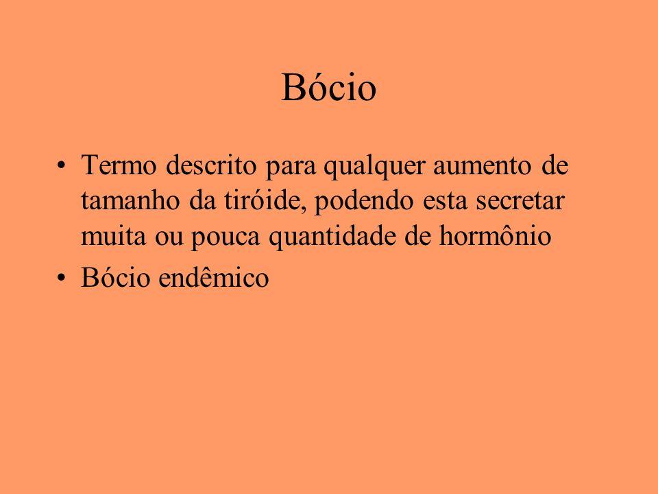 BócioTermo descrito para qualquer aumento de tamanho da tiróide, podendo esta secretar muita ou pouca quantidade de hormônio.