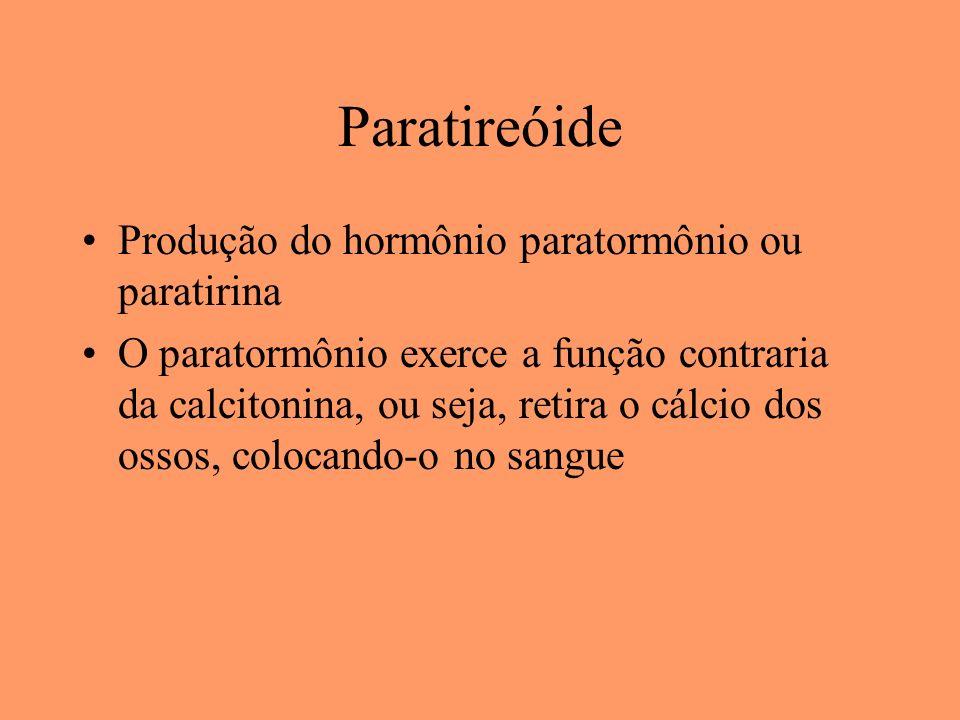 Paratireóide Produção do hormônio paratormônio ou paratirina