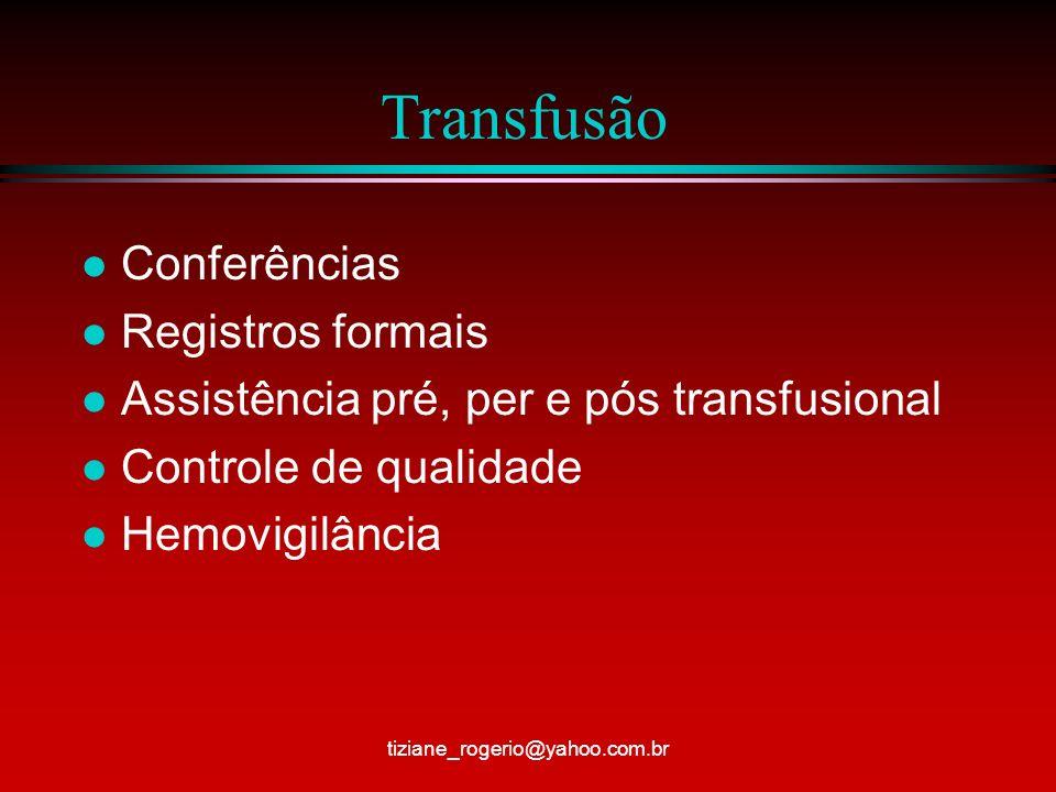 Transfusão Conferências Registros formais