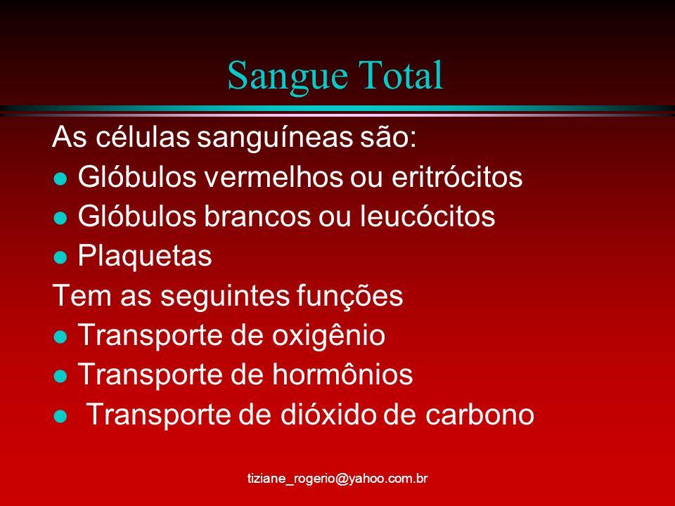 Sangue Total As células sanguíneas são: