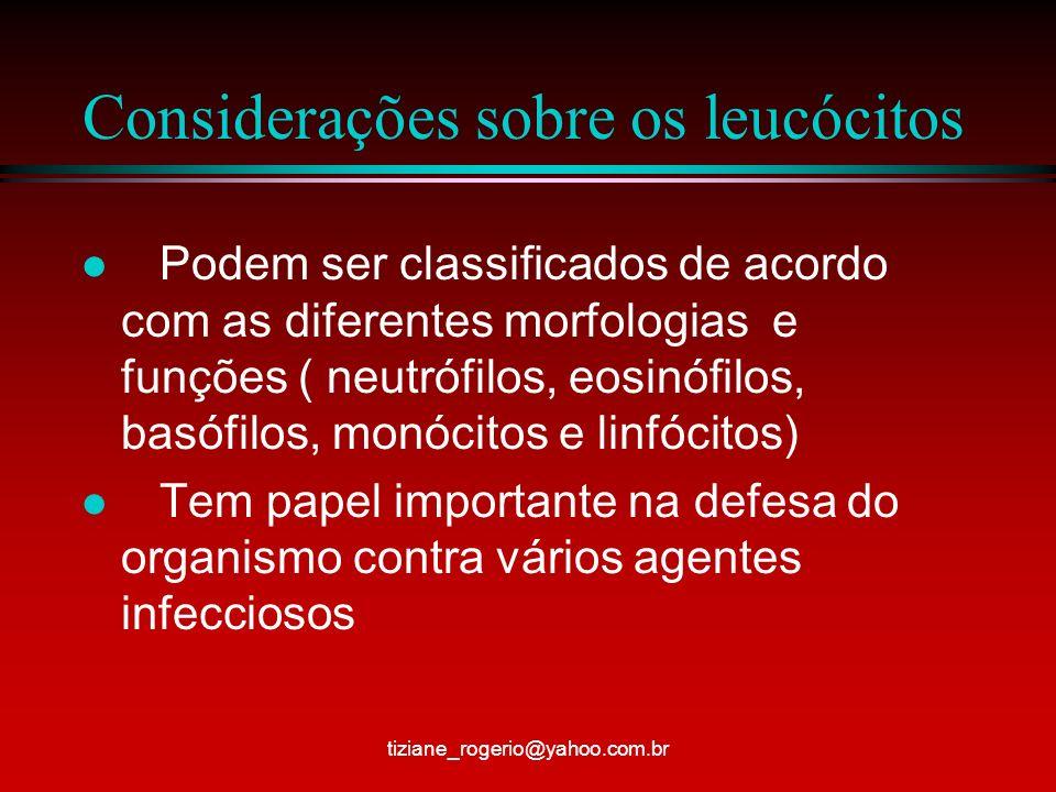 Considerações sobre os leucócitos
