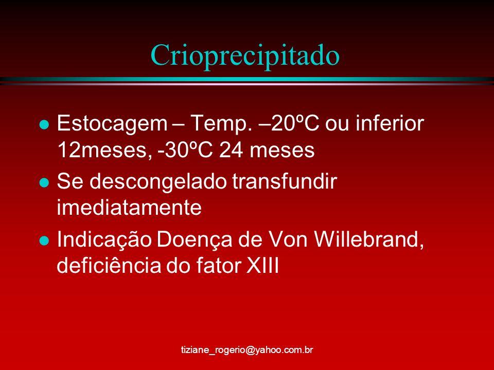 Crioprecipitado Estocagem – Temp. –20ºC ou inferior 12meses, -30ºC 24 meses. Se descongelado transfundir imediatamente.