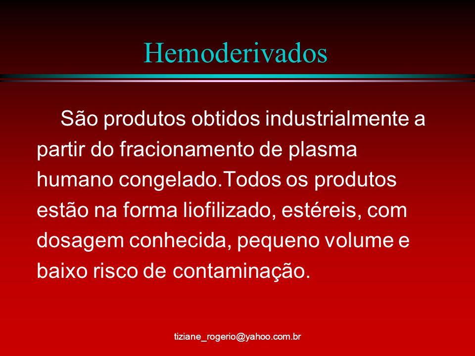 Hemoderivados São produtos obtidos industrialmente a