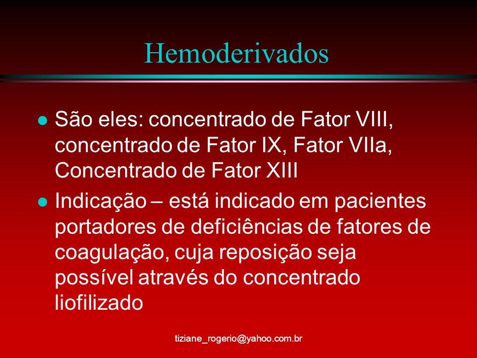 Hemoderivados São eles: concentrado de Fator VIII, concentrado de Fator IX, Fator VIIa, Concentrado de Fator XIII.