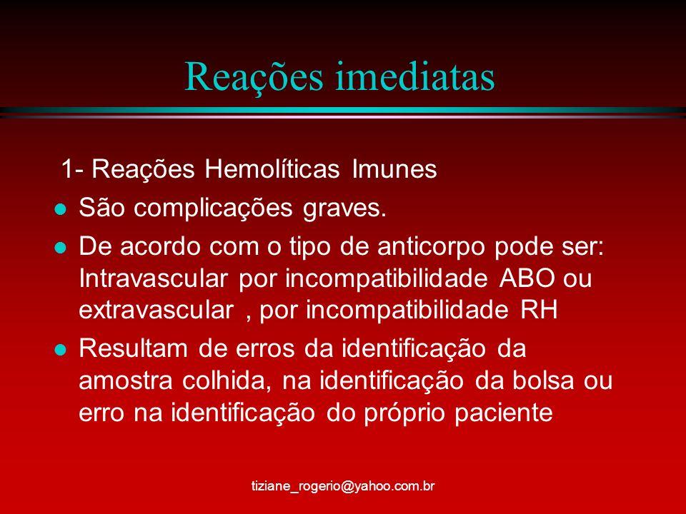 Reações imediatas 1- Reações Hemolíticas Imunes
