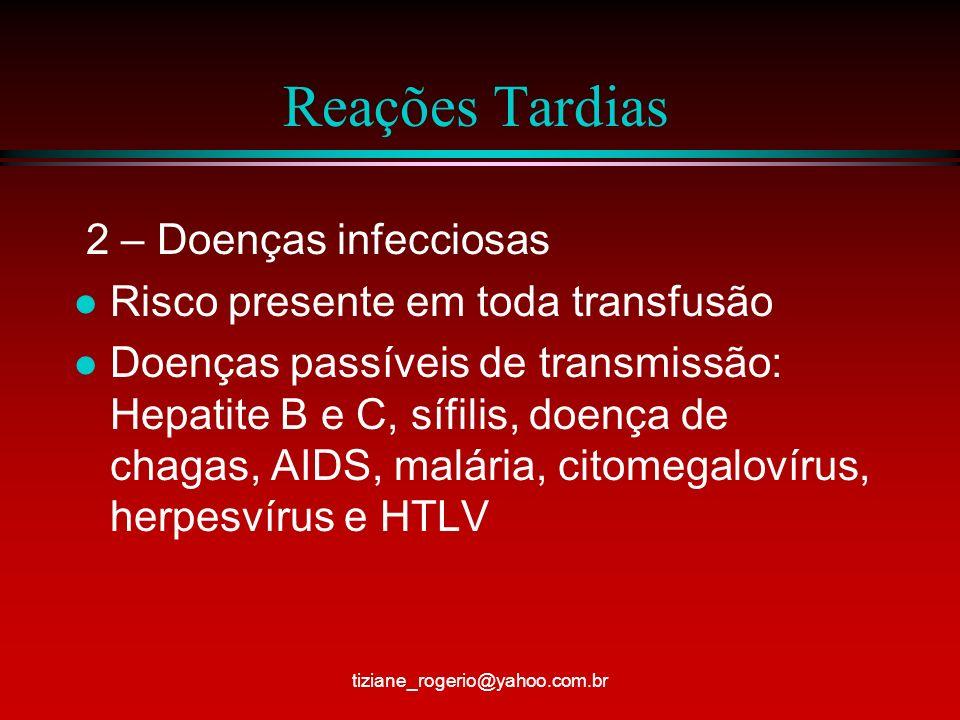 Reações Tardias 2 – Doenças infecciosas