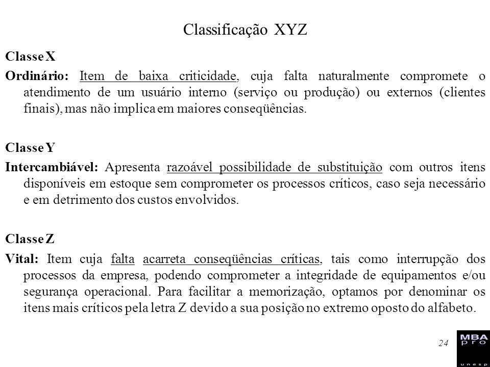 Classificação XYZ Classe X