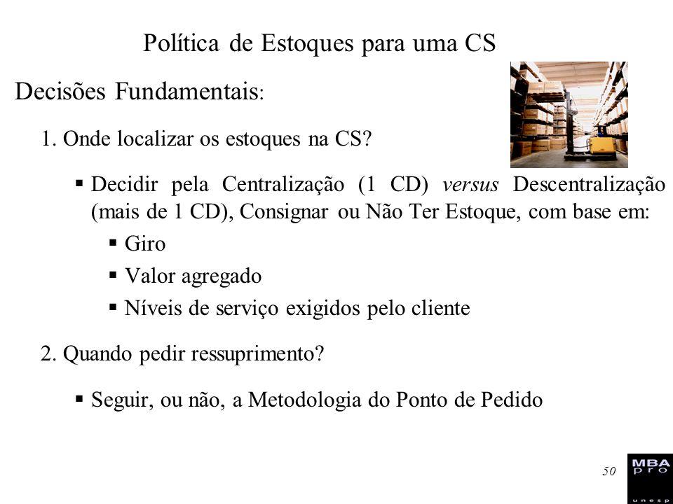 Política de Estoques para uma CS