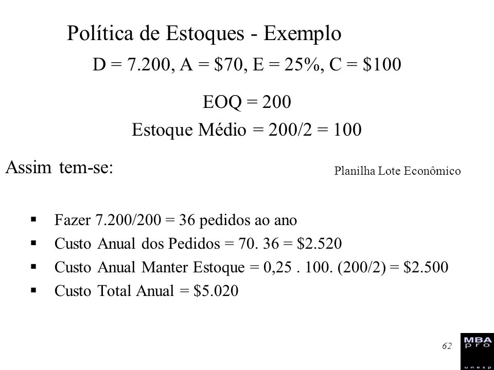 Política de Estoques - Exemplo
