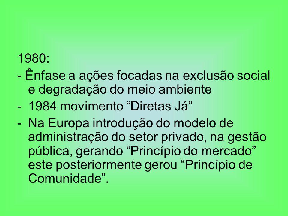 1980: - Ênfase a ações focadas na exclusão social e degradação do meio ambiente. 1984 movimento Diretas Já