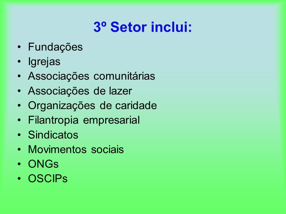 3º Setor inclui: Fundações Igrejas Associações comunitárias