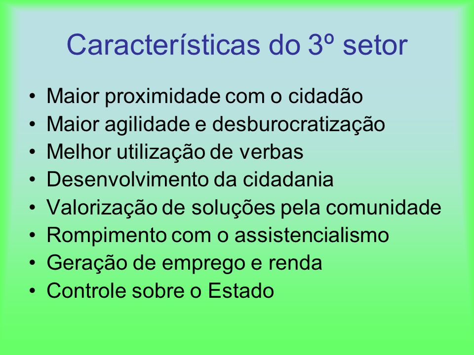 Características do 3º setor