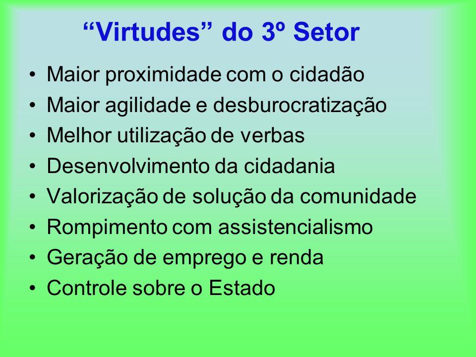 Virtudes do 3º Setor Maior proximidade com o cidadão