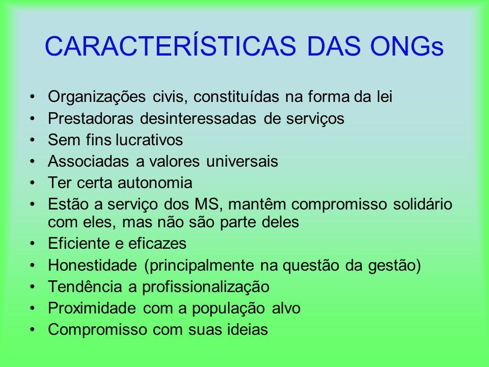 CARACTERÍSTICAS DAS ONGs