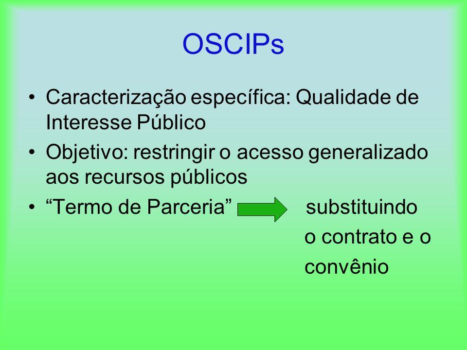 OSCIPs Caracterização específica: Qualidade de Interesse Público