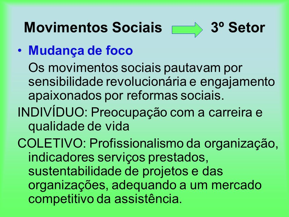 Movimentos Sociais 3º Setor