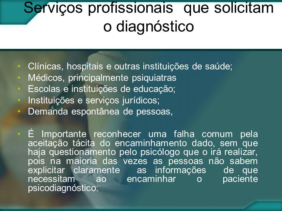 Serviços profissionais que solicitam o diagnóstico