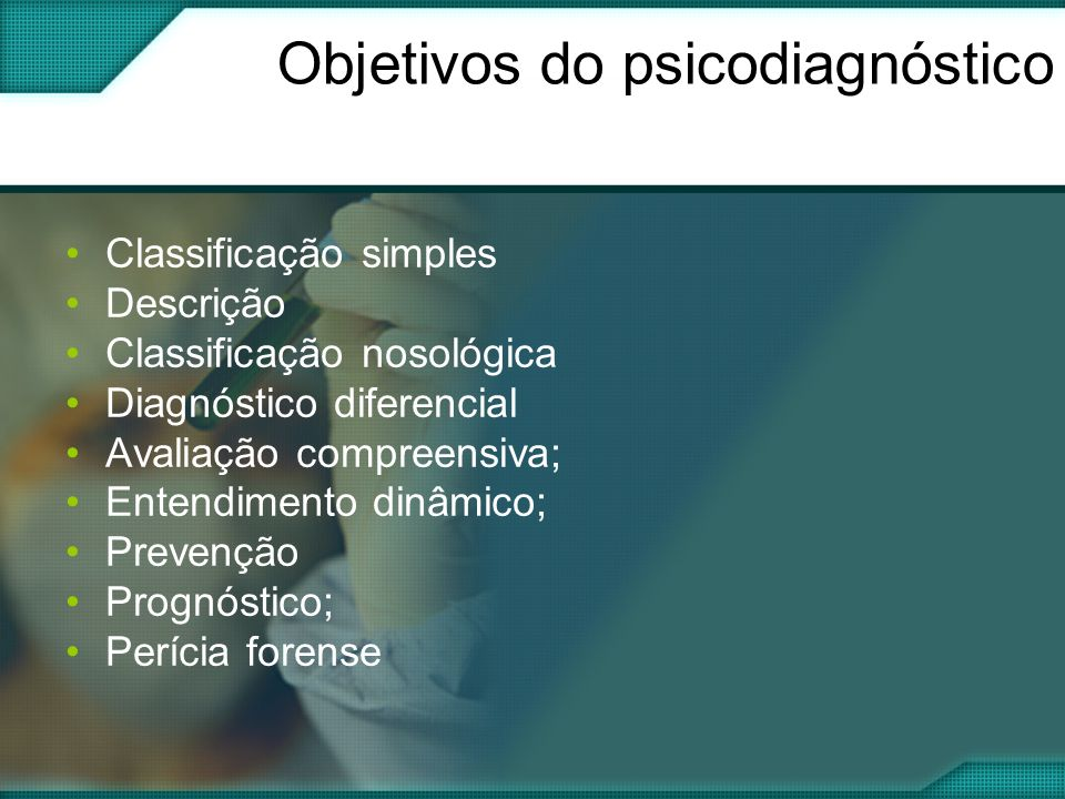Objetivos do psicodiagnóstico