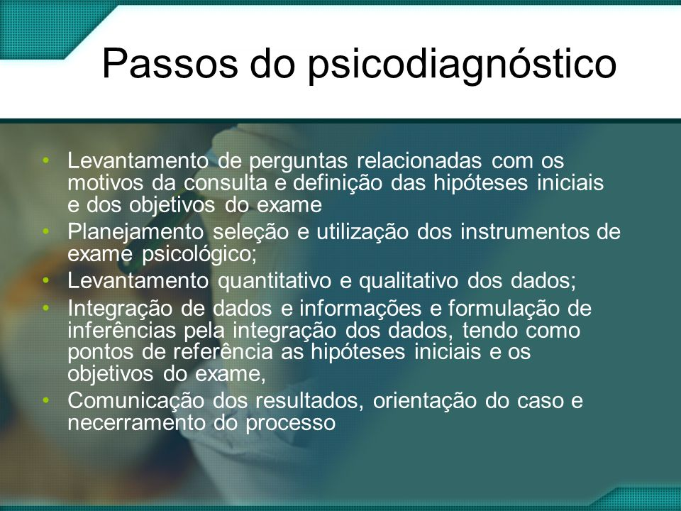 Passos do psicodiagnóstico