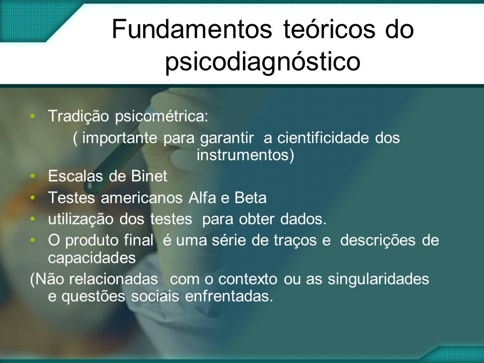 Fundamentos teóricos do psicodiagnóstico