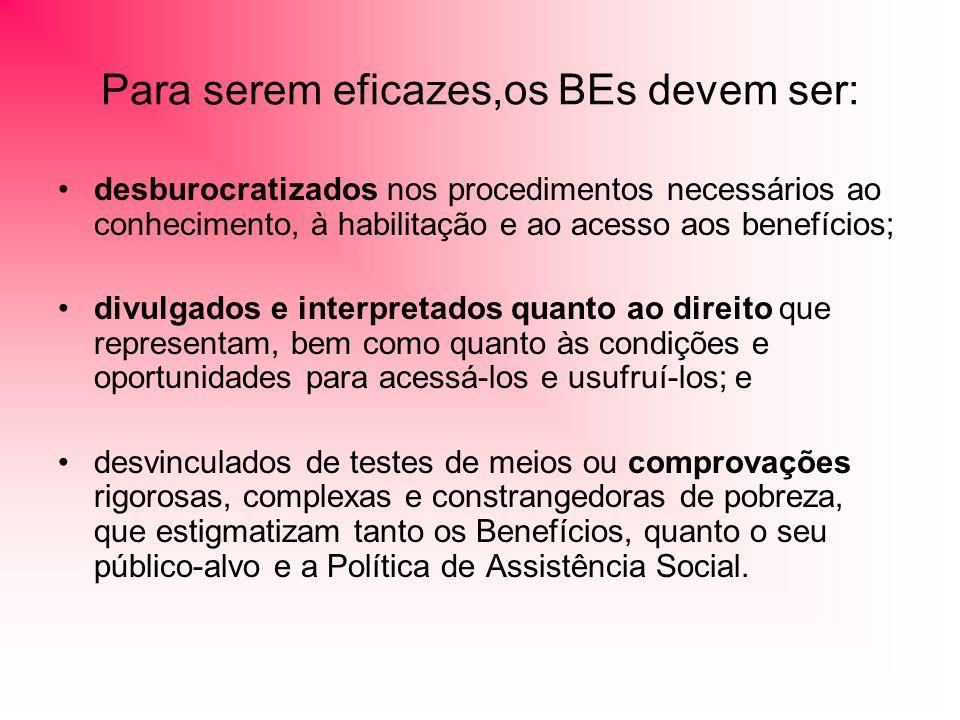 Para serem eficazes,os BEs devem ser: