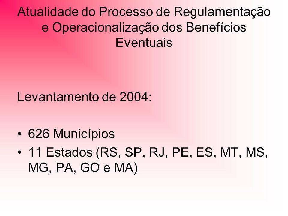 Atualidade do Processo de Regulamentação e Operacionalização dos Benefícios Eventuais
