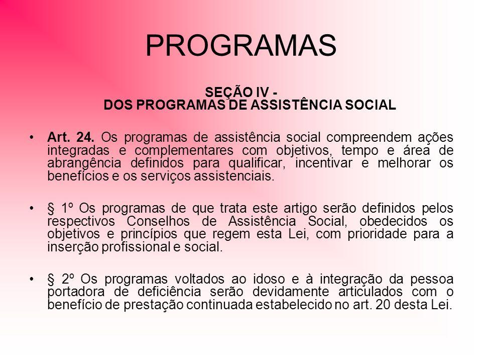 SEÇÃO IV - DOS PROGRAMAS DE ASSISTÊNCIA SOCIAL