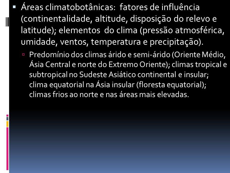 Áreas climatobotânicas: fatores de influência (continentalidade, altitude, disposição do relevo e latitude); elementos do clima (pressão atmosférica, umidade, ventos, temperatura e precipitação).