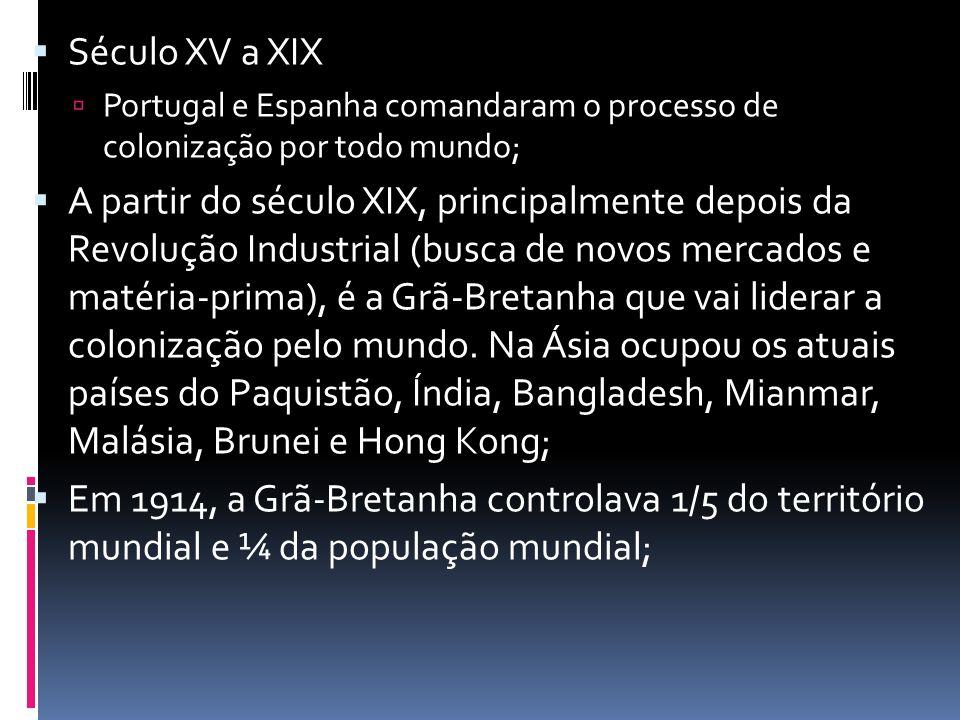 Século XV a XIX Portugal e Espanha comandaram o processo de colonização por todo mundo;