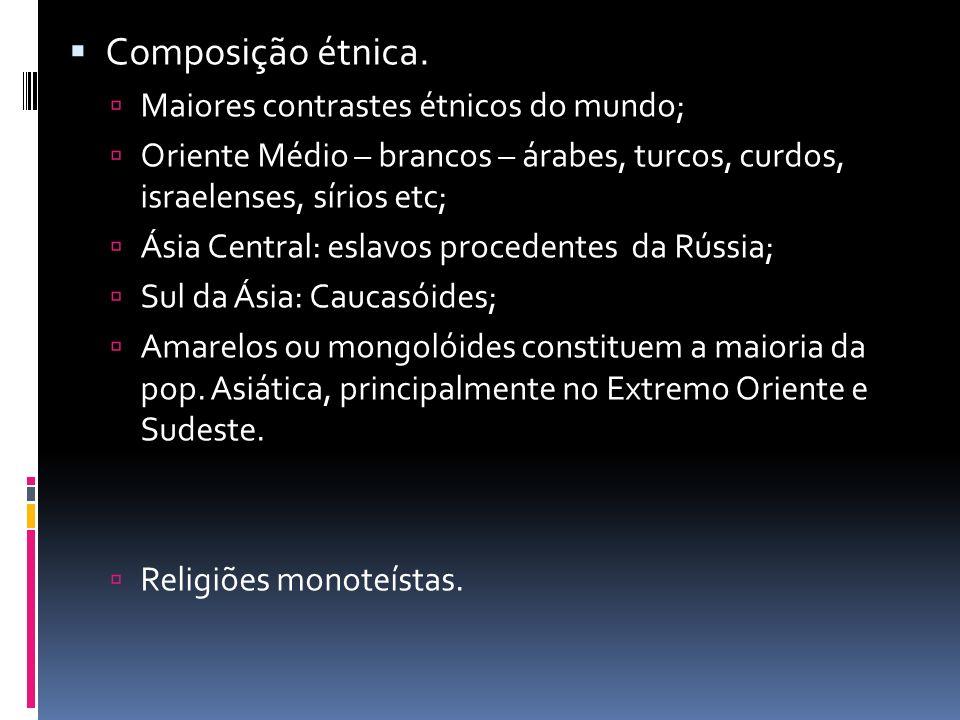 Composição étnica. Maiores contrastes étnicos do mundo;