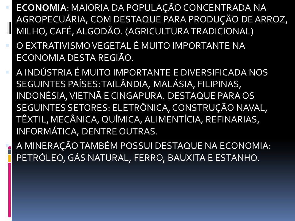 ECONOMIA: MAIORIA DA POPULAÇÃO CONCENTRADA NA AGROPECUÁRIA, COM DESTAQUE PARA PRODUÇÃO DE ARROZ, MILHO, CAFÉ, ALGODÃO. (AGRICULTURA TRADICIONAL)