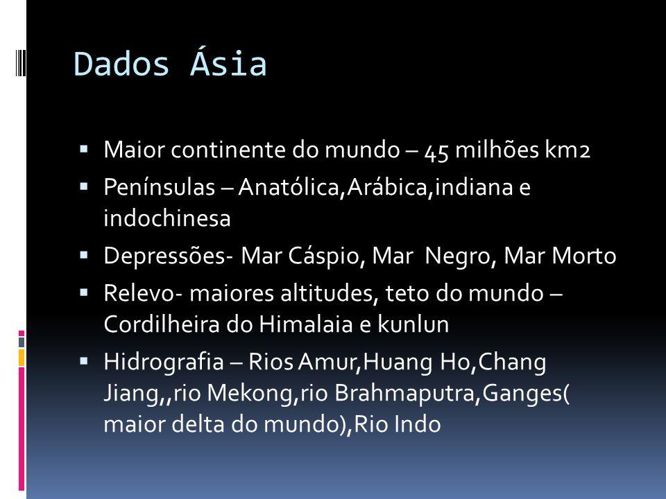 Dados Ásia Maior continente do mundo – 45 milhões km2