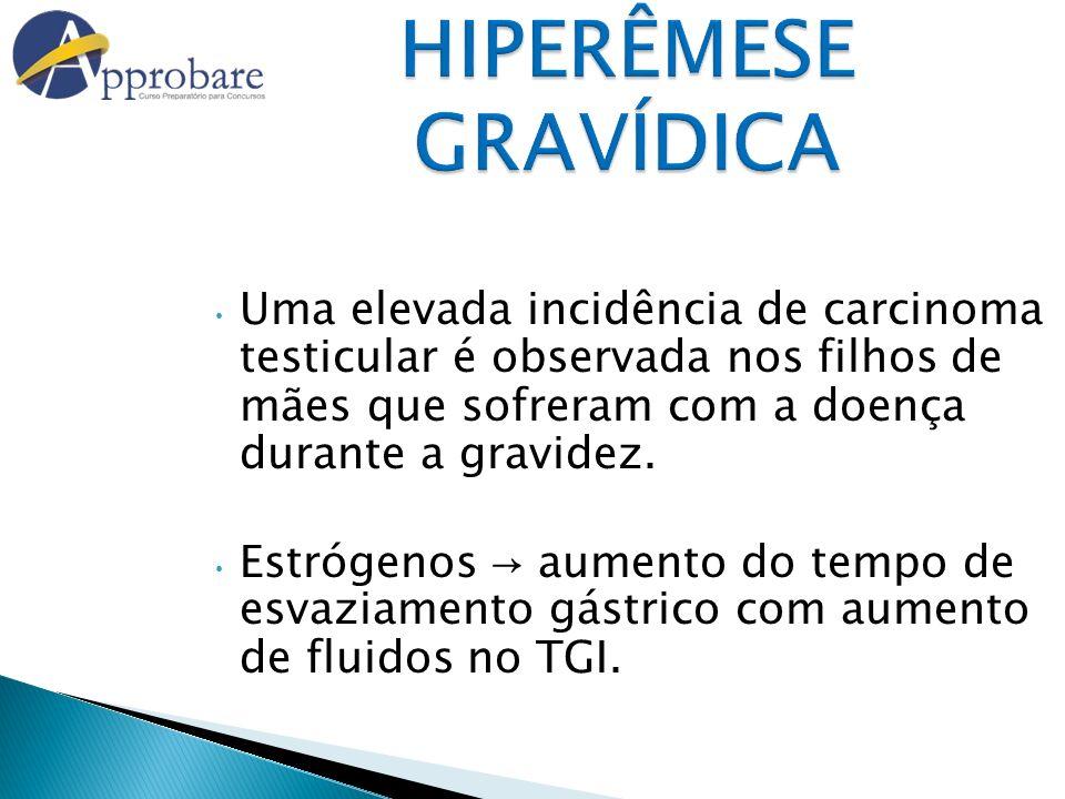 HIPERÊMESE GRAVÍDICA Uma elevada incidência de carcinoma testicular é observada nos filhos de mães que sofreram com a doença durante a gravidez.