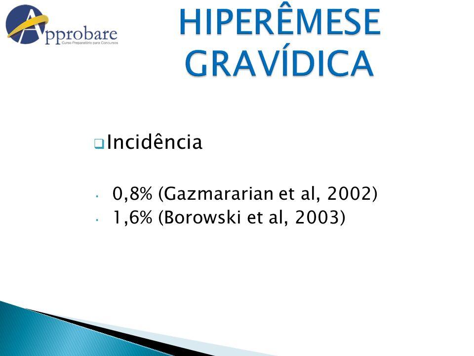 HIPERÊMESE GRAVÍDICA Incidência 0,8% (Gazmararian et al, 2002)