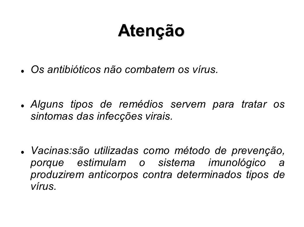 Atenção Os antibióticos não combatem os vírus.
