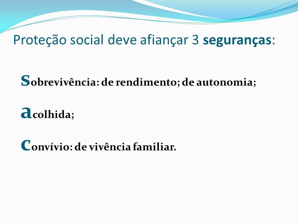 Proteção social deve afiançar 3 seguranças: