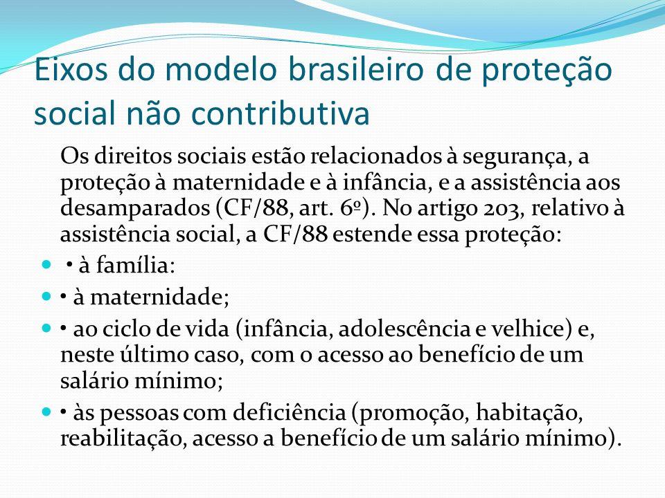 Eixos do modelo brasileiro de proteção social não contributiva