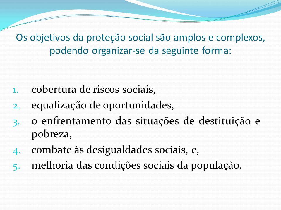 Os objetivos da proteção social são amplos e complexos, podendo organizar-se da seguinte forma: