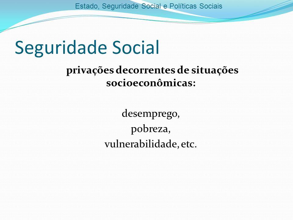 Seguridade Social privações decorrentes de situações socioeconômicas:
